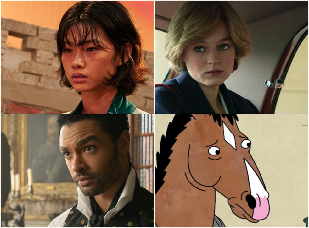 <p>Netflix hits, clockwise from top right: 'The Crown', 'BoJack Horseman', 'Bridgerton' and 'Squid Game'</p>