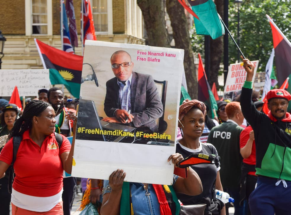 <p>Demonstrators outside Downing Street in July this year demanding the release of Nnamdi Kanu </p>
