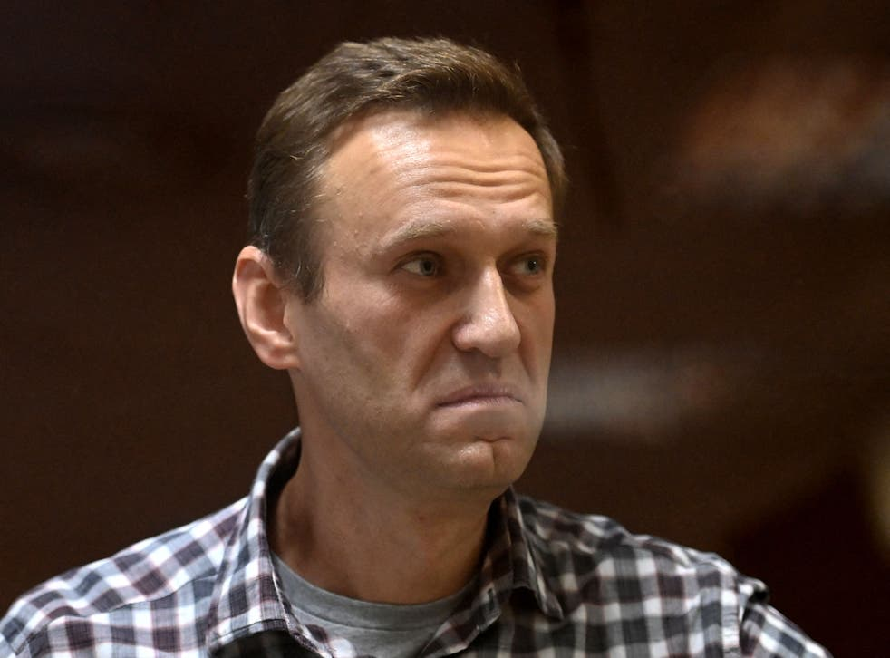 <p>Russian opposition leader Alexei Navalny at a court hearing in Moscow earlier this year </p>