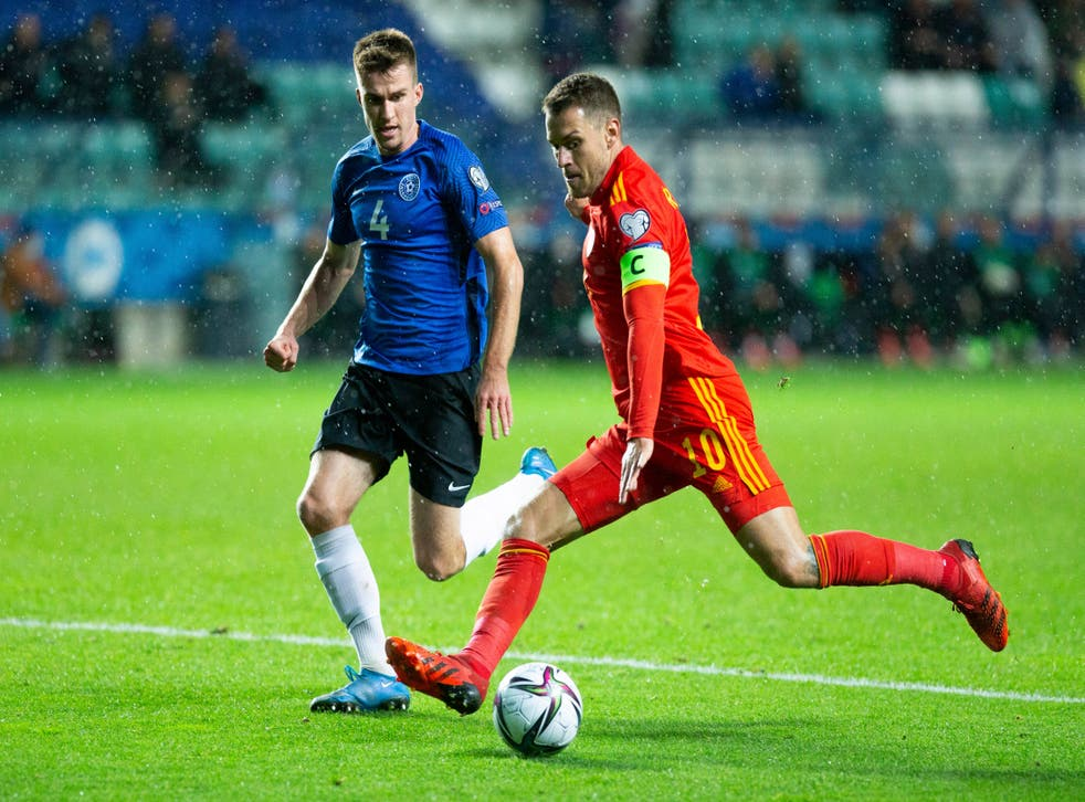 Aaron Ramsey, right, praised Wales' resilience after their hard-fought 1-0 World Cup qualifying victory in Estonia (Raul Mee/AP)