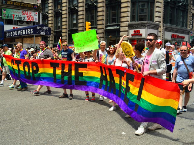 <p>A protest over hate towards LGBT+ Americans in New York in 2017</p>