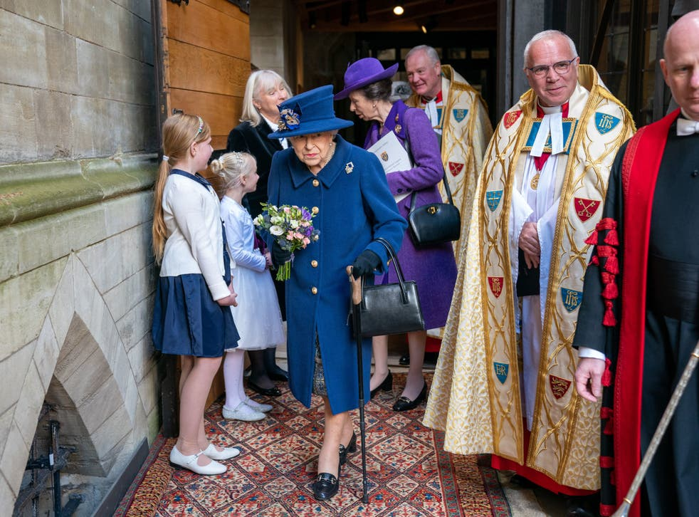 <p>Queen Elizabeth II uses a walking stick as she arrives with the Princess Royal to attend a Service of Thanksgiving at Westminster Abbey in London to mark the Centenary of the Royal British Legion</p>