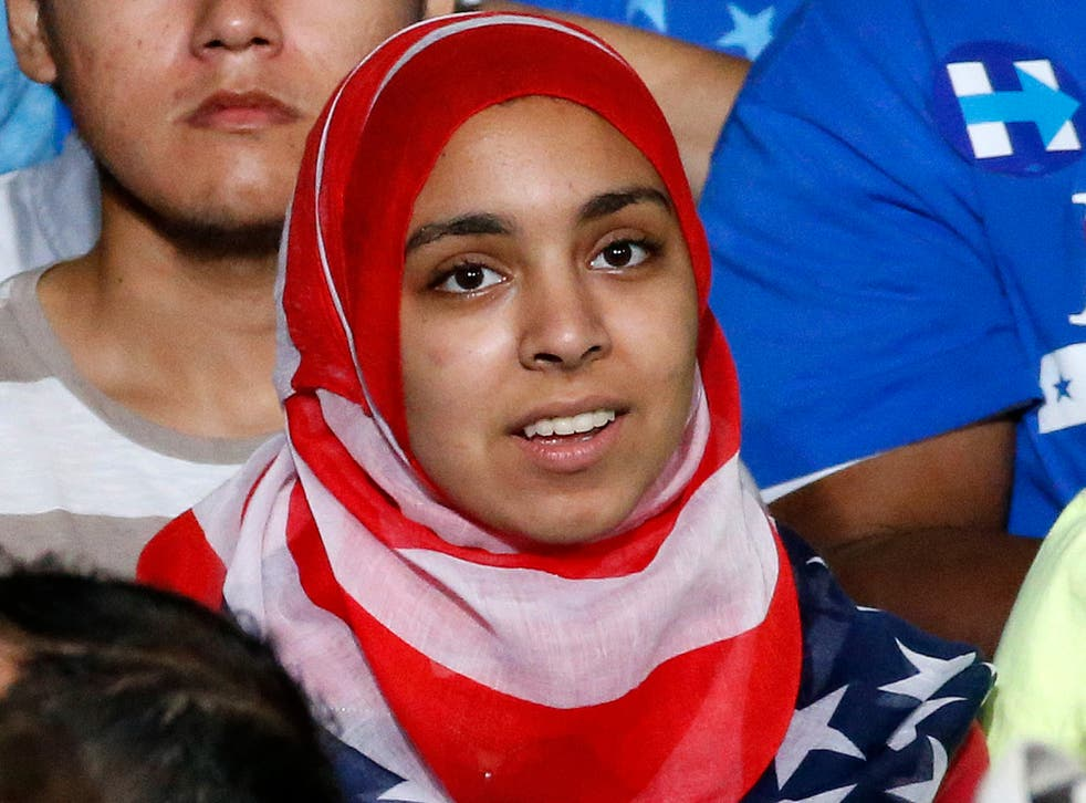 <p>An American hijabi woman </p>