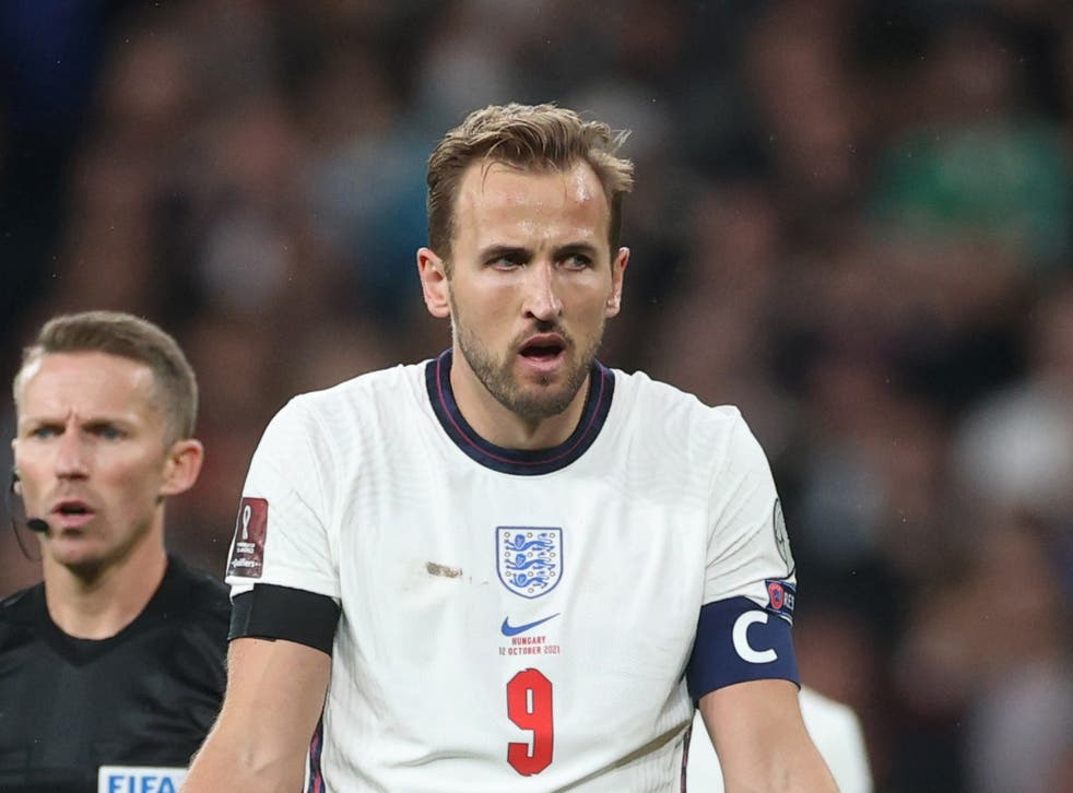 <p>Harry Kane expresses frustration at Wembley on Tuesday </p>