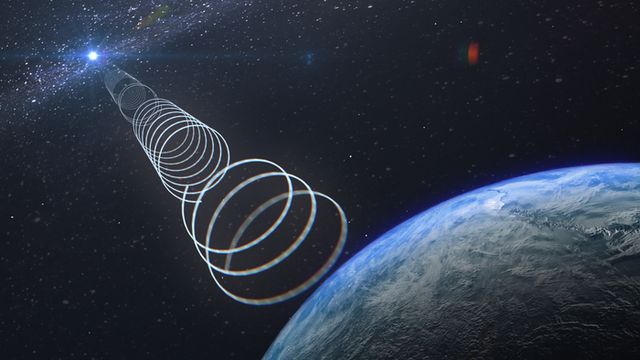 <p>An artist's interpretation of a rare radio signal from a mysterious object near the centre of the Milky Way. This radio signal is highly polarised and is thus extremely rare</p>