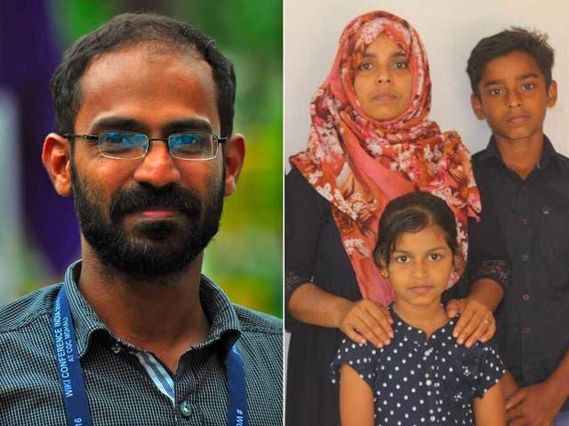 Siddique Kappan (izquierda) fue arrestado el 5 de octubre del año pasado. Su esposa (a la derecha, con sus dos hijos menores) ha estado haciendo campaña por su liberación.