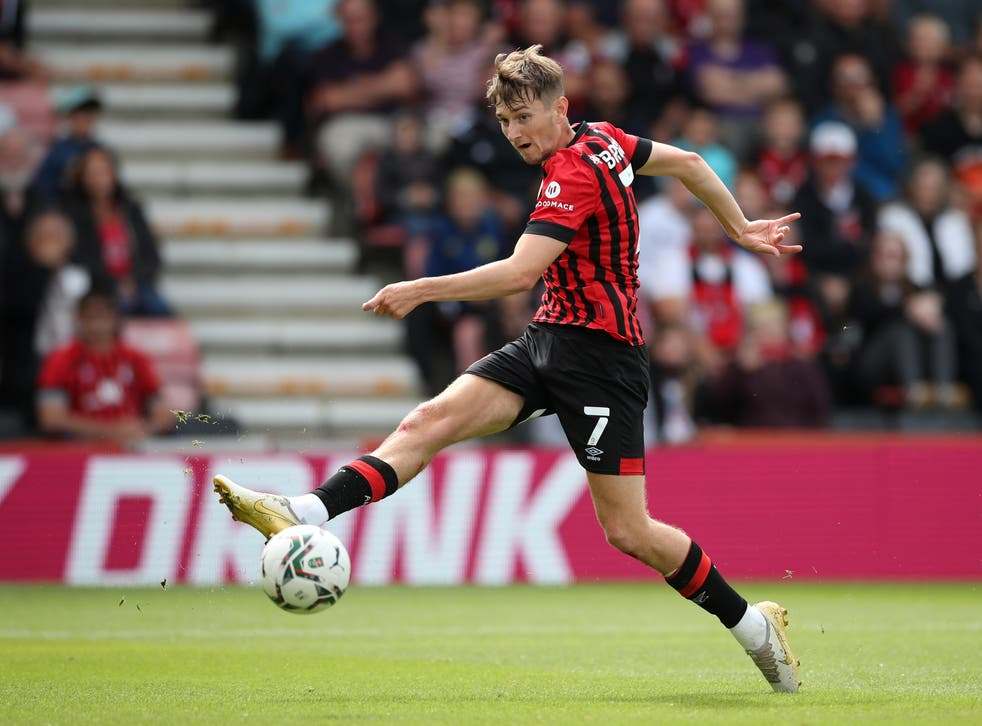 <p>David Brooks in action for Bournemouth this season</p>