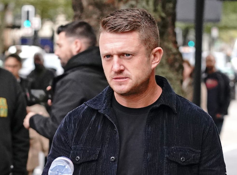 <p>Tommy Robinson has been handed a five-year stalking ban after turning up at the home of an Independent journalist</p>