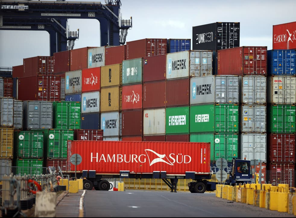<p>Containers piled high in Felixstowe on Wednesday </p>