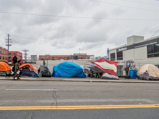 <p>A homeless camp in San Francisco</p>