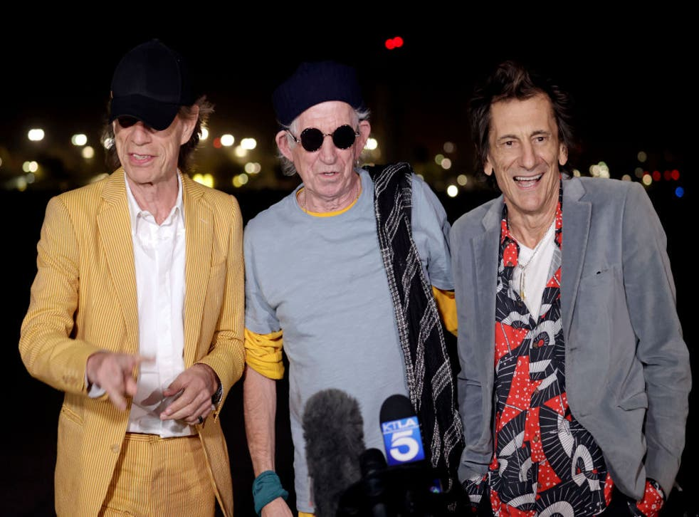 <p>Mick Jagger, Keith Richards and Ronnie Wood of The Rolling Stones at Hollywood Burbank airport for their No Filter tour</p>