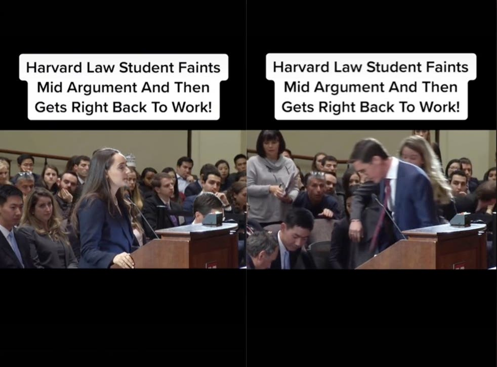 <p>Viral TikTok of Harvard Law Student fainting and then resuming argument sparks debate</p>