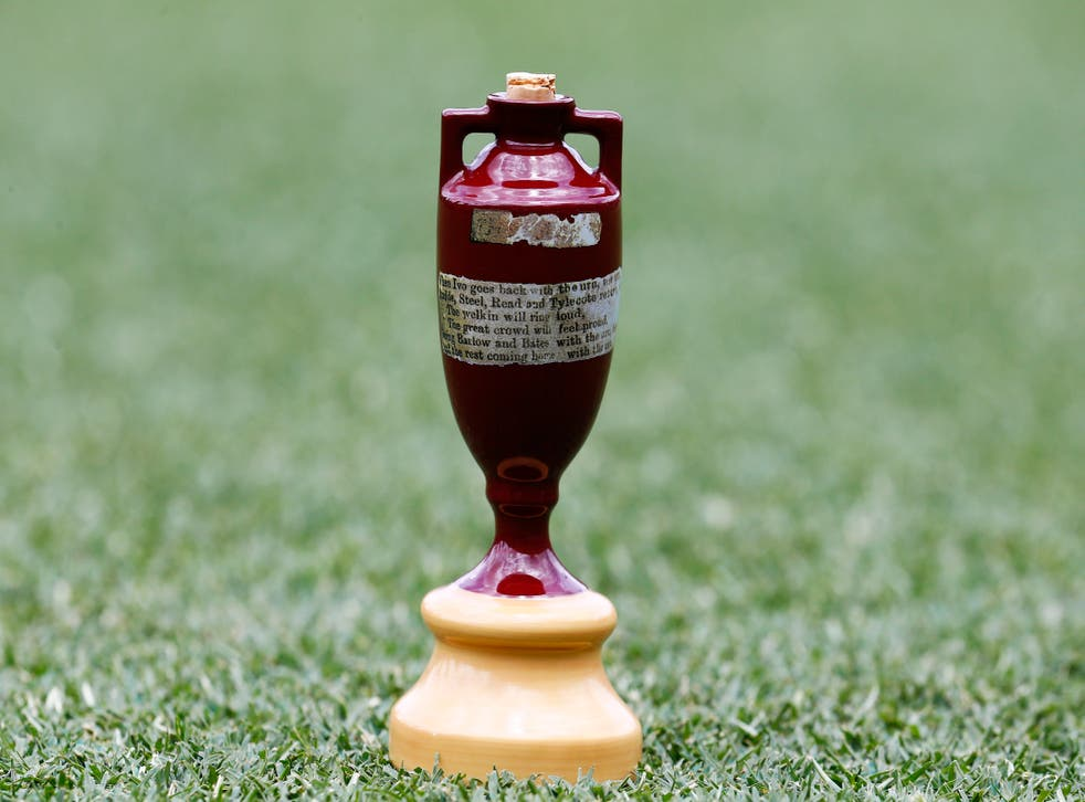 The Ashes Urn on the pitch during a press conference at The Gabba, Brisbane (Jason O'Brien/PA)