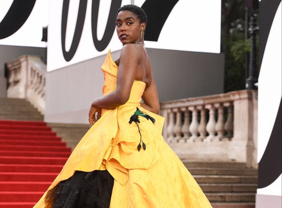 <p>Lashana Lynch wearing Vivienne Westwood at the world premiere of No Time to Die in September 2021</p>