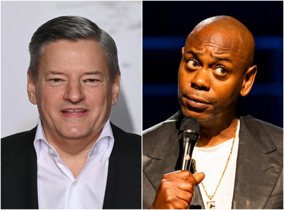 <p>Ted Sarandos (left) has defended Chappelle</p>