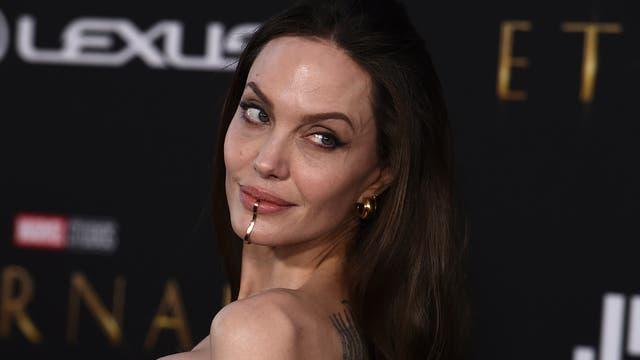 Angelina Jolie rocked a lip cuff on the red carpet (Jordan Strauss/AP)