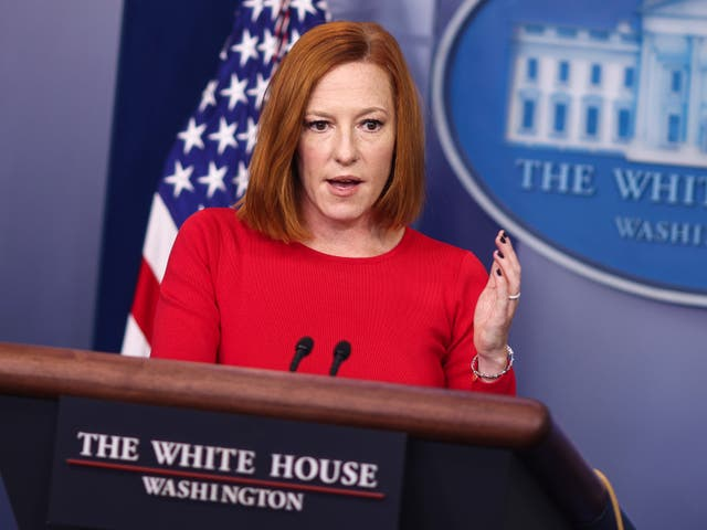 <p>White House Press Secretary Jen Psaki speaks during a press briefing at the White House on October 19, 2021 in Washington, DC</p>