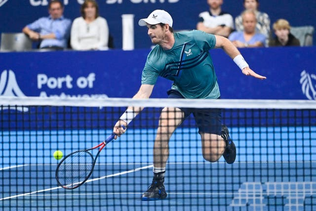 <p>Andy Murray gets to a ball against Frances Tiafoe</p>