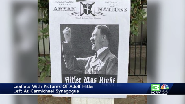 Se pegaron folletos que decían 'Hitler tenía razón' en el manurah de la Sinagoga Mesiánica Shalom le Israel en Sacramento