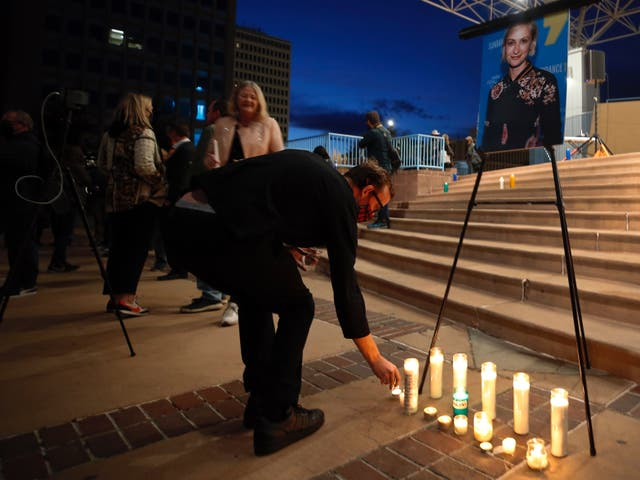 <p>Candles were lit during a vigil for Halyna Hutchins </p>