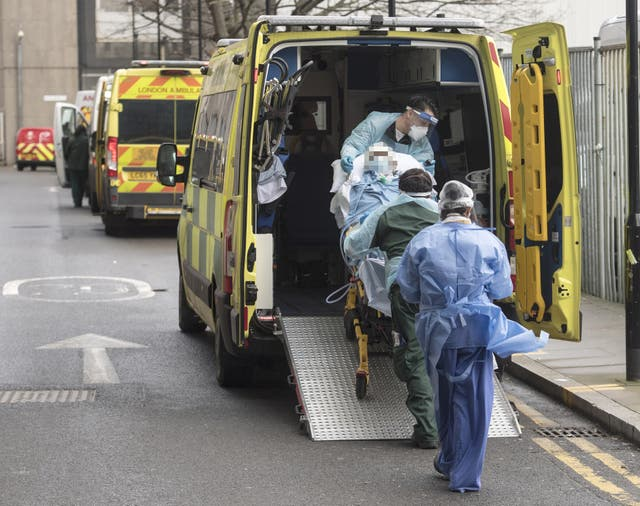 <p>An ambulance is pictured outside the Royal London Hospital on 17 February, 2021. </p>
