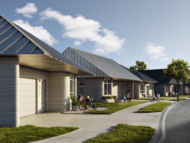 Una representación muestra una comunidad planificada de casas impresas en 3-D en Austin, Texas