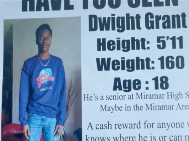 Dwight Grant, de 18 años, fue encontrado muerto en unos arbustos fuera de un complejo de apartamentos de Florida