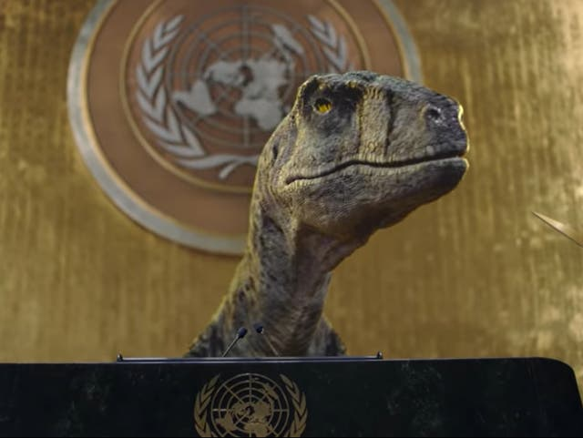 <p>The prehistoric creature tells delegates the world is heading for disaster </p>