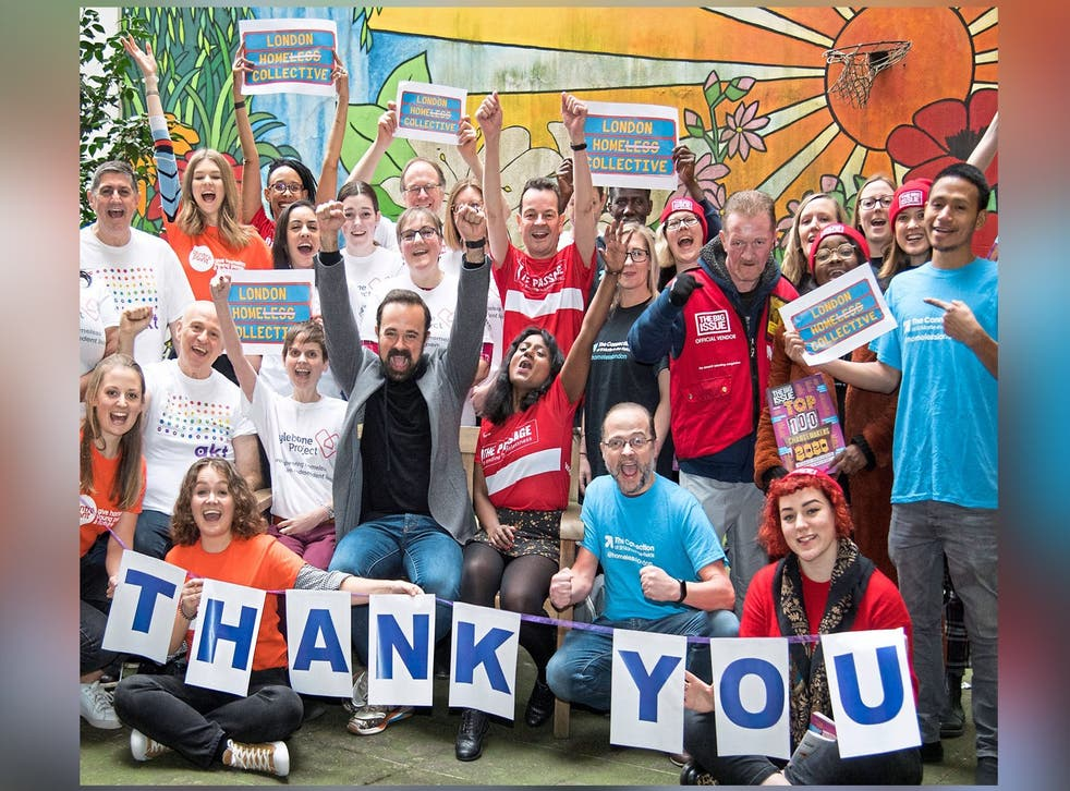 Celebration: the London Homeless Collective and Evening Standard proprietor Evgeny Lebedev say thank you