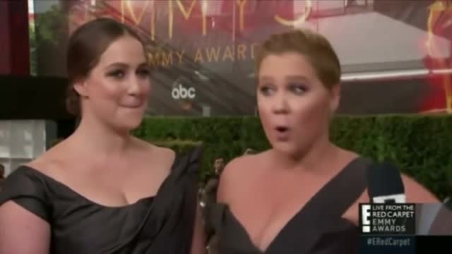 Amy Schumer credits tampon brand when asked who she's wearing at the Emmys