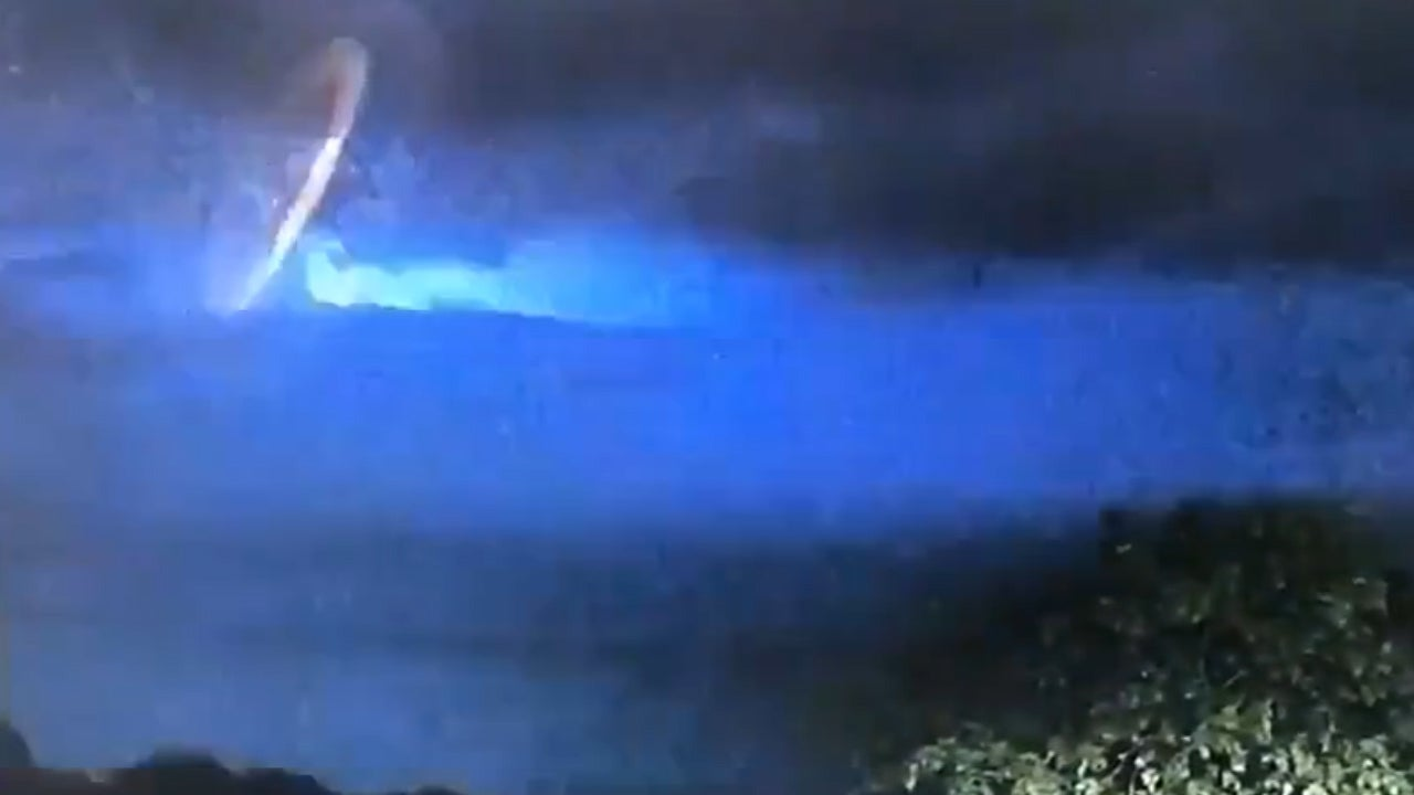 Police share video of strange bright light shining in the sky during thunderstorm