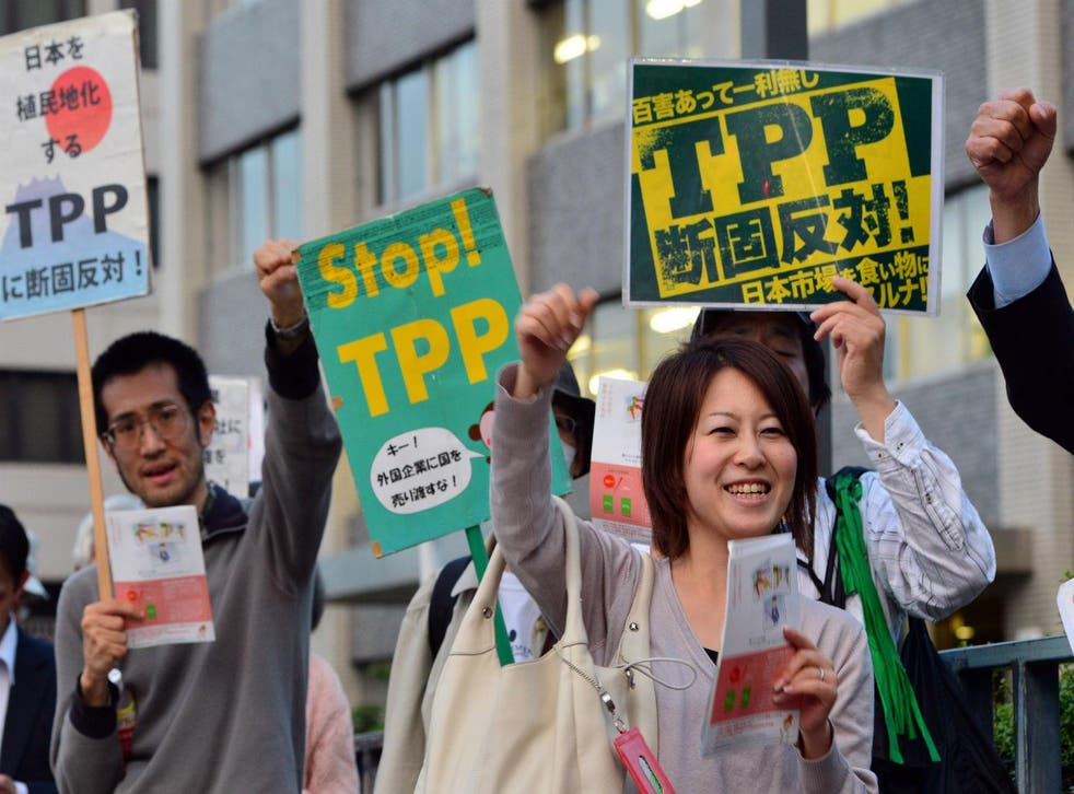 Protestors at a rally against the Trans-Pacific Partnership trade deal in Tokyo  in May 2014.