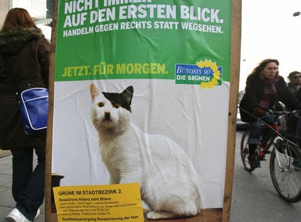 A campaign poster for Germany's Green Party for local elections on 20 February 2008.