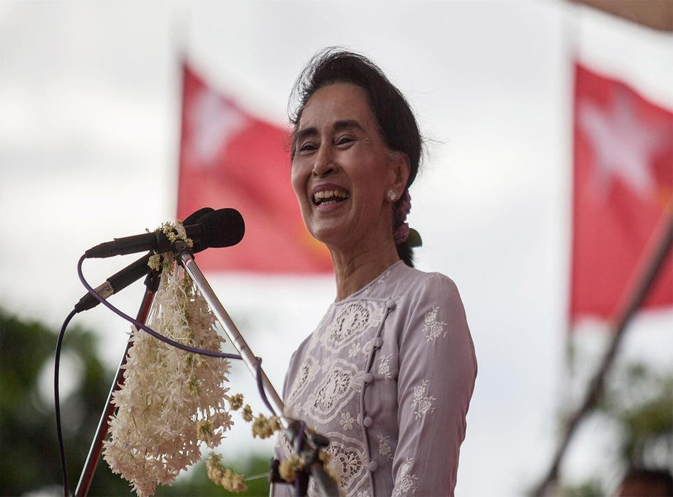 Aung San Suu Kyi, Nobel Peace Prize winning Chairperson of the NLD, at a recent election rally