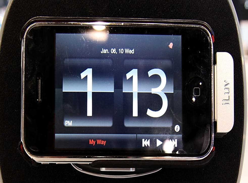 An iPhone clock telling the time
