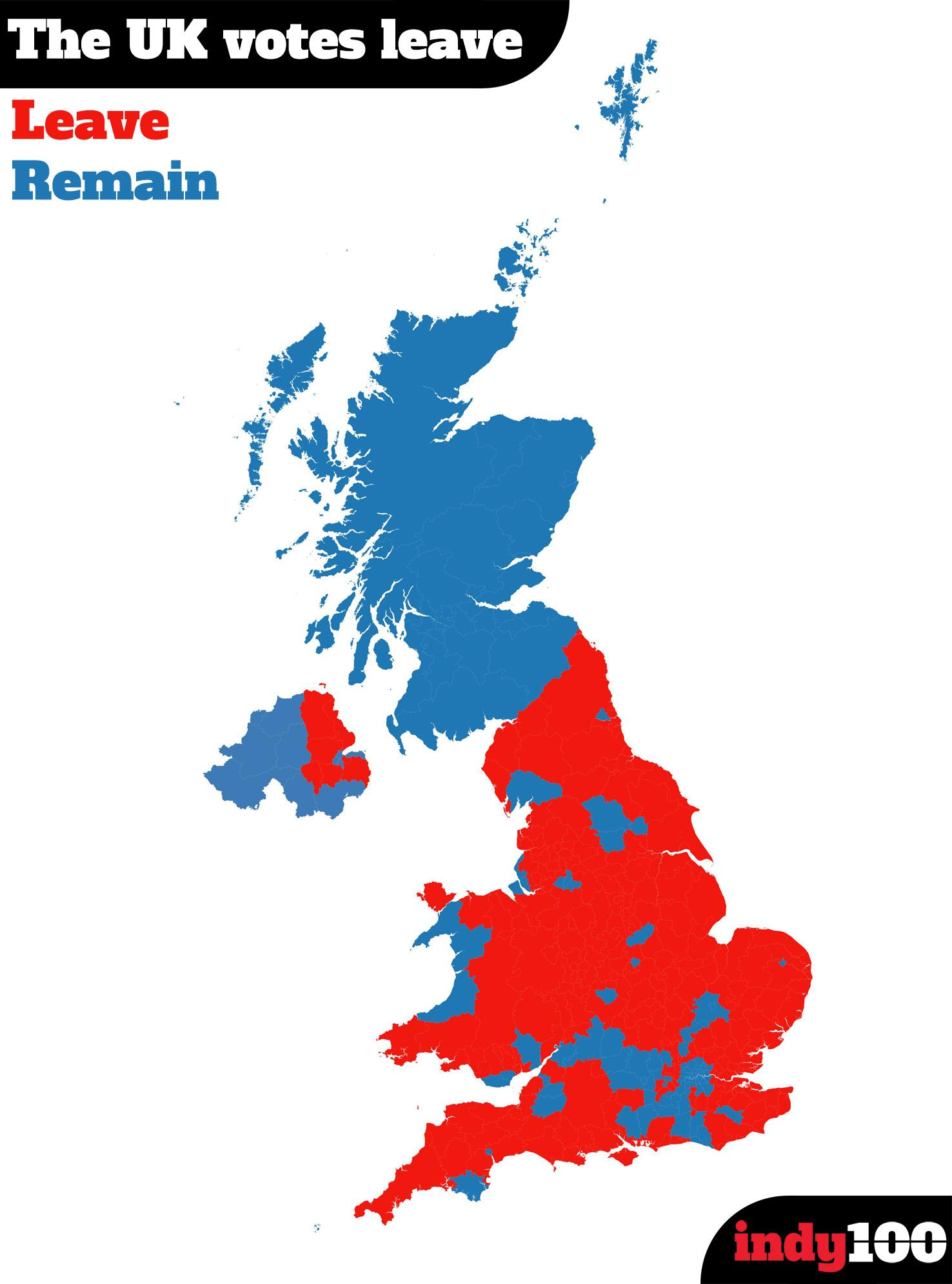 Map Of England Showing London.15 Maps And Charts That Explain How Brexit Happened Indy100