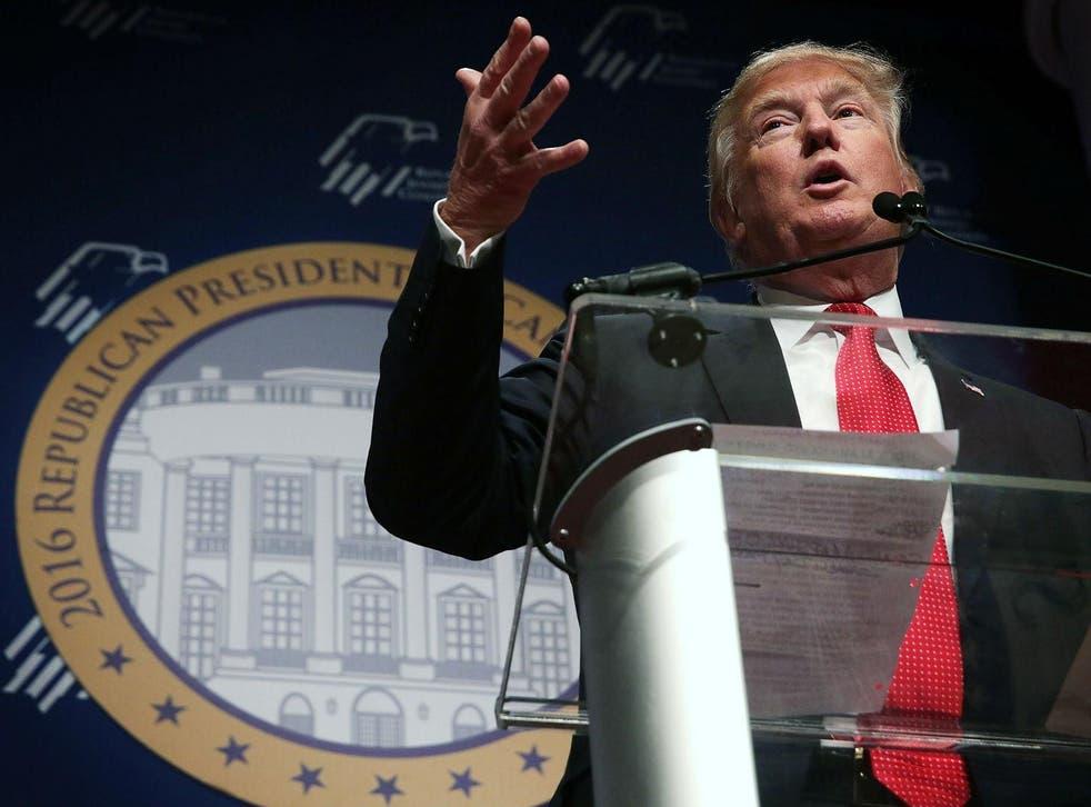 Trump addressed Republican Jewish Coalition. PICTURE: Alex Wong/Getty