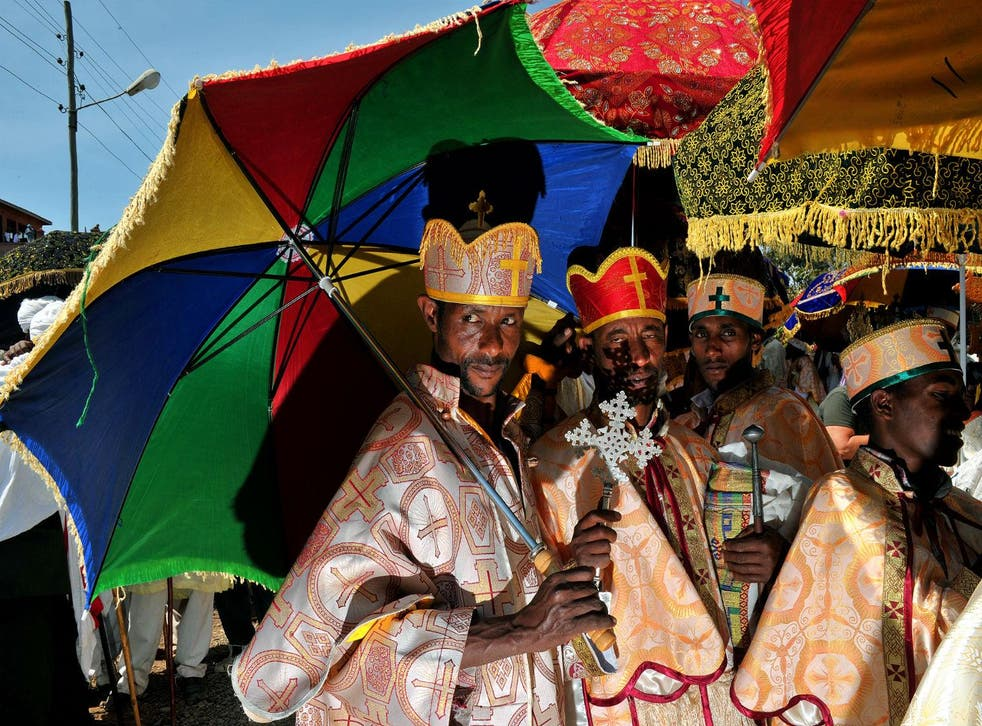 Ethiopian Orthodox Christian priests are pictured during the annual festival of Timkat in Lalibela, Ethiopia, on January 20, 2012. DCARL DE SOUZA/AFP/Getty Images