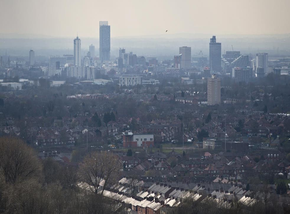 The Manchester skyline from Oldham on 7 April 2015