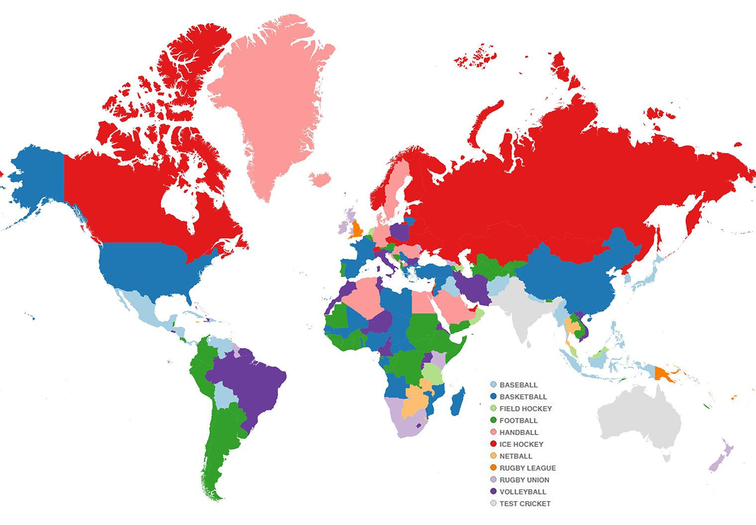 The world map according to which sport each is country is best at ...