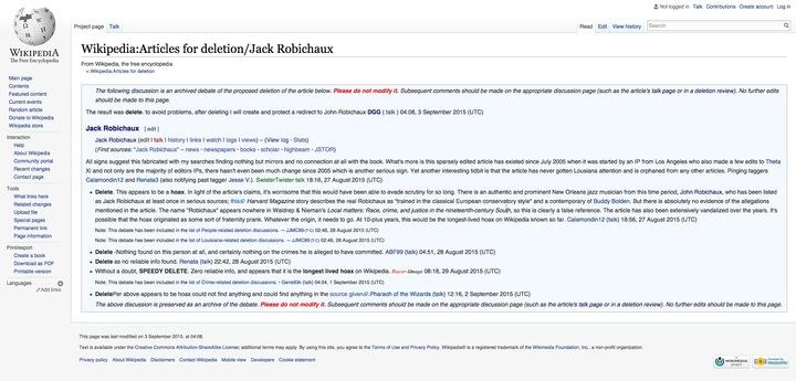 Wikipedia's longest running fake page has been found after