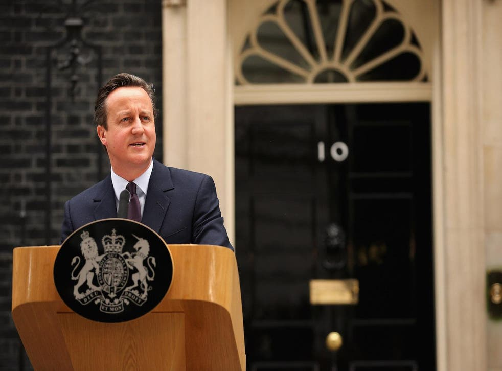 Prime minister David Cameron outside10 Downing Street on 8 May 2015