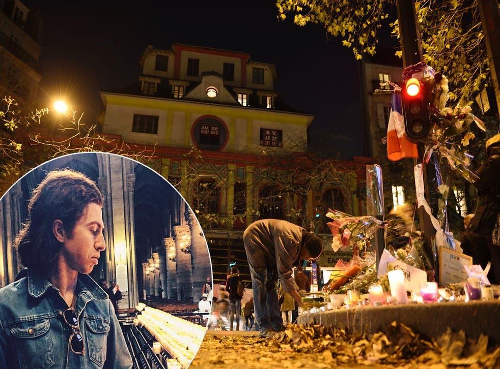 The Bataclan cafe in Paris on 23 November 2015, and inset left Julian Dorio's instagram post photo on 24 November (