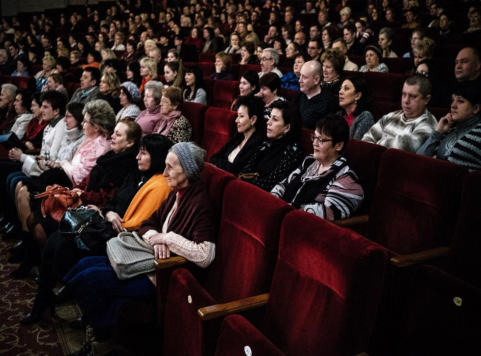 People attend a performance of 'The Merry Widow' in Donetsk, Ukraine