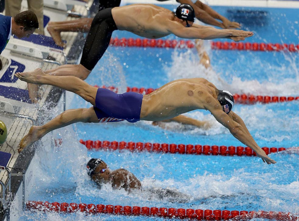 Michael Phelps with visible cupping marks