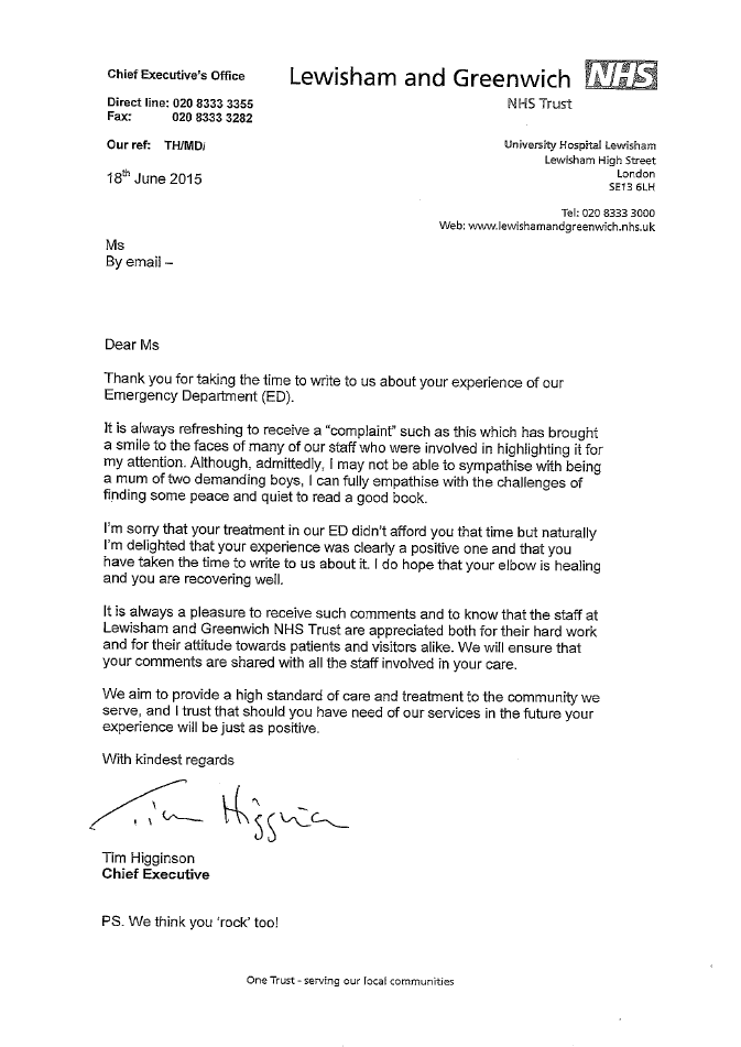 Everyone should read this brilliant NHS 'complaint' letter