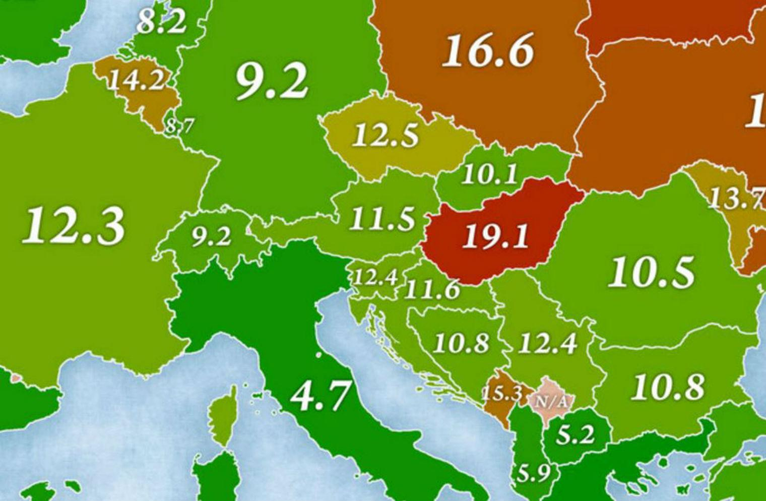 A Map Of Europe By Suicide Rates In Each Country Indy100
