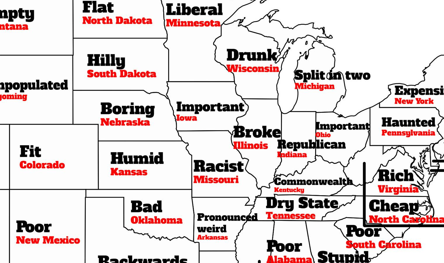 The stereotype map of America according to Brits | indy100 on architecture of alabama, school of alabama, education of alabama, hate of alabama,