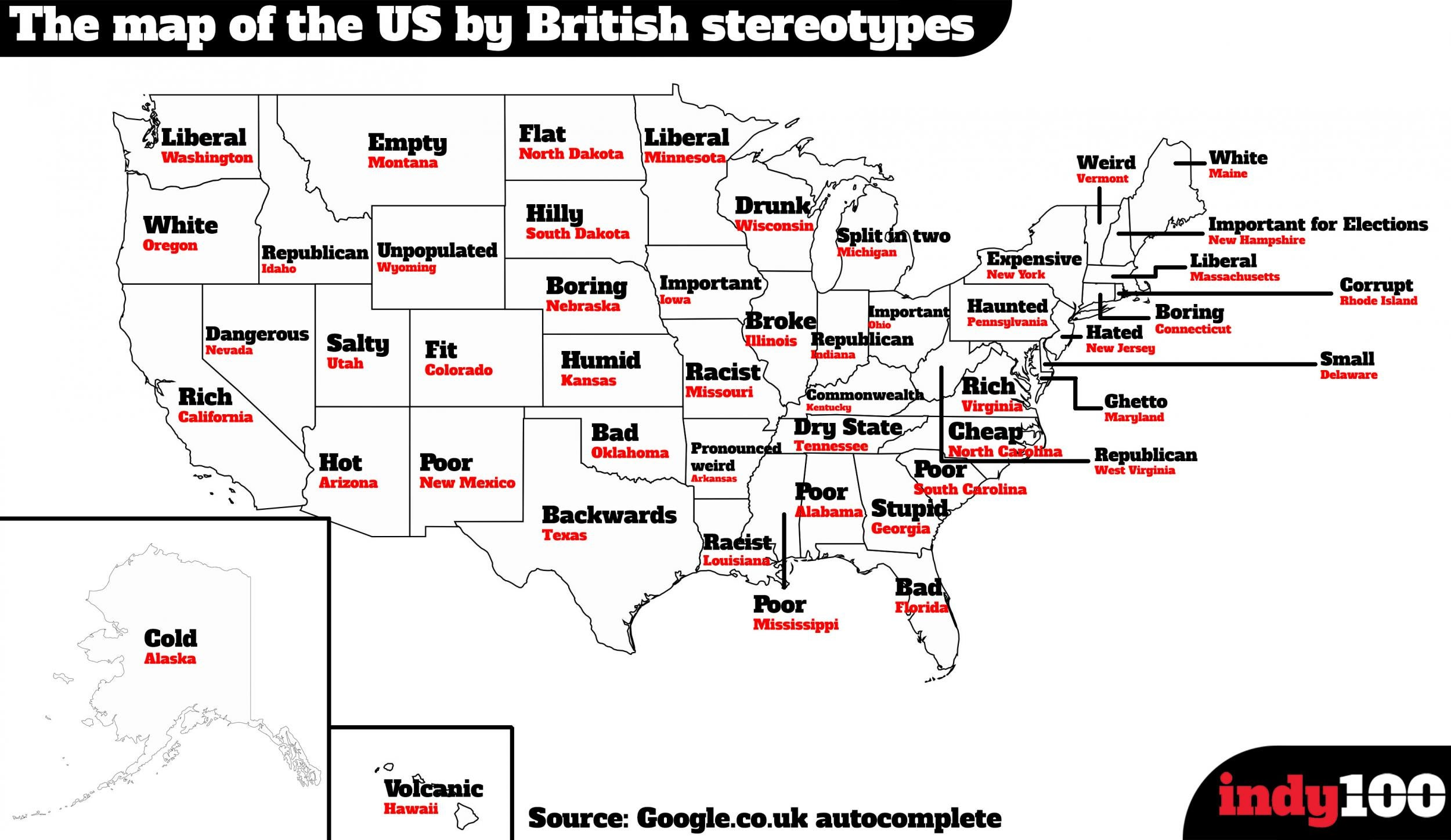 The stereotype map of America according to Brits | indy100