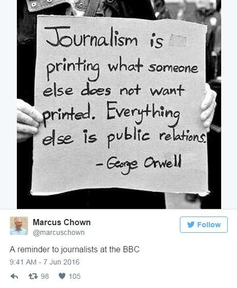 People are using fake George Orwell quotes to lecture the BBC on